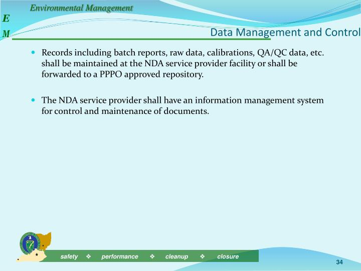 Data Management and Control