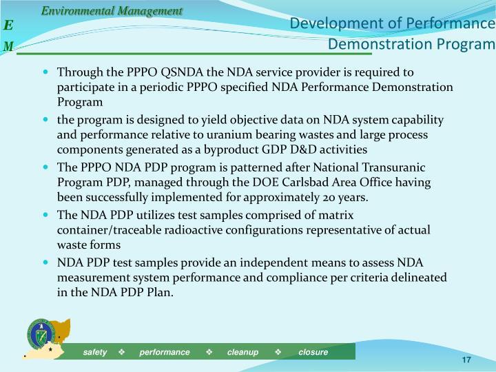 Development of Performance Demonstration Program