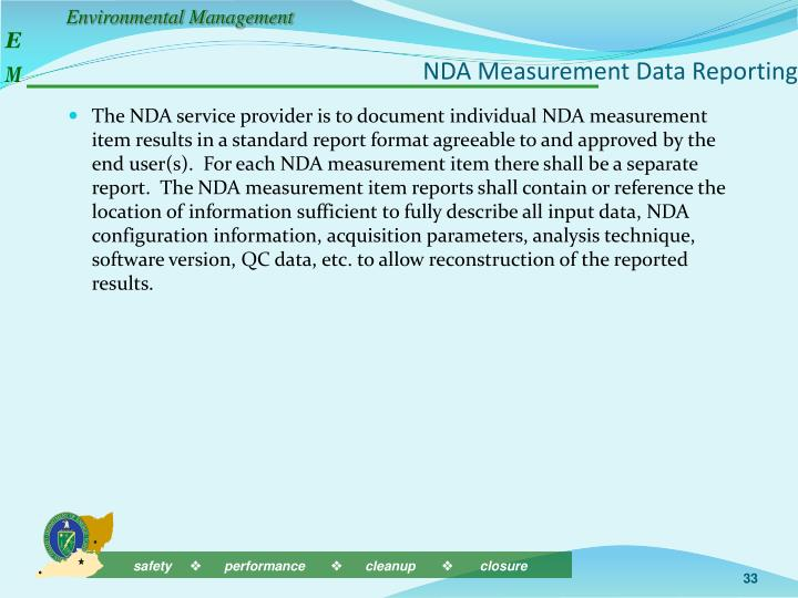 NDA Measurement Data Reporting