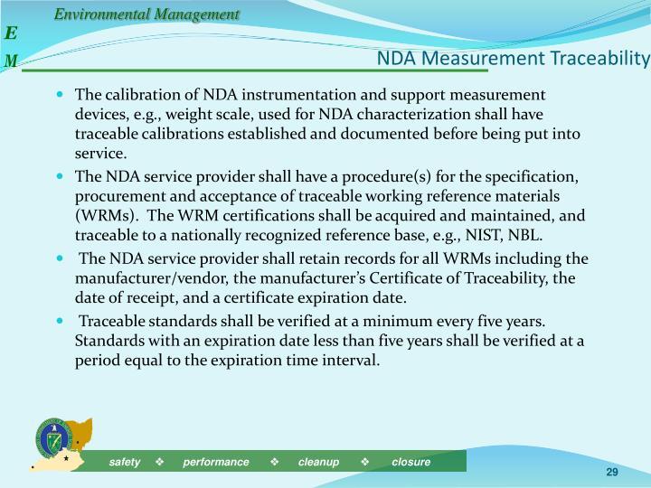 NDA Measurement Traceability