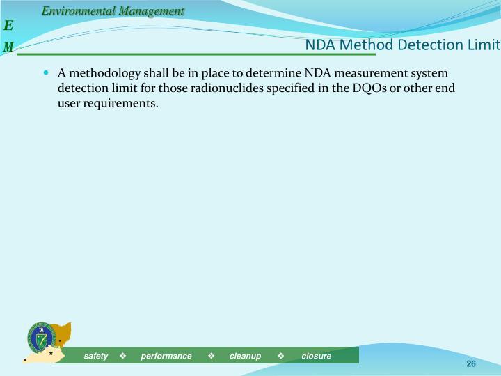 NDA Method Detection Limit