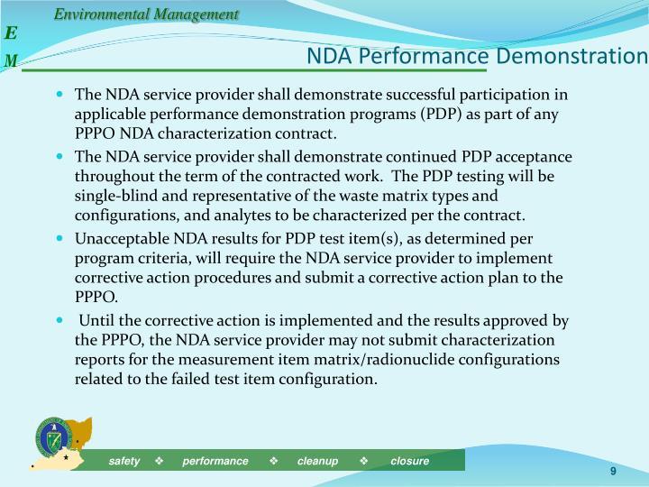 NDA Performance Demonstration