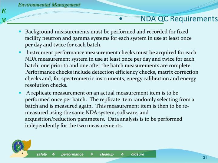 •NDA QC Requirements