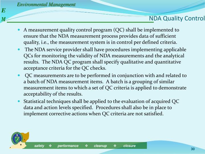 NDA Quality Control
