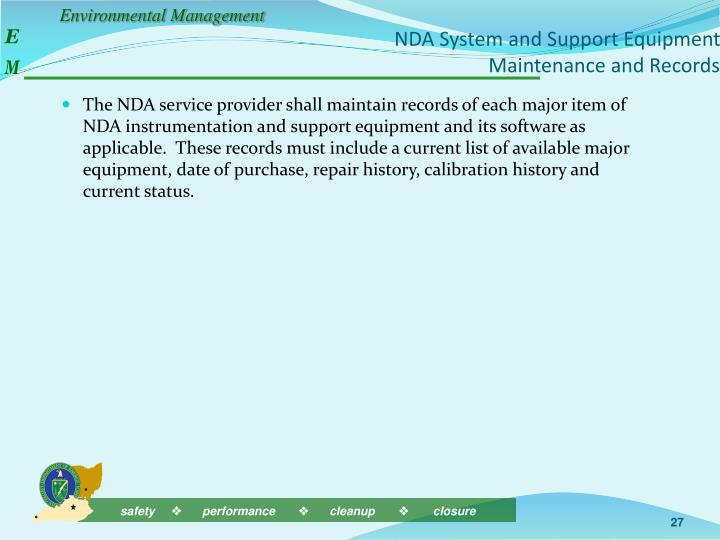 NDA System and Support Equipment Maintenance and Records