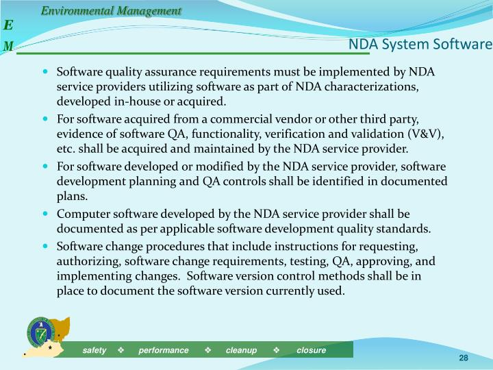 NDA System Software
