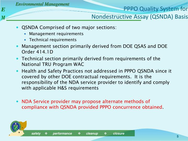 PPPO Quality System for Nondestructive Assay (QSNDA) Basis