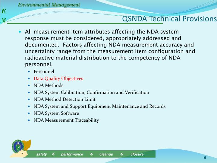 QSNDA Technical Provisions