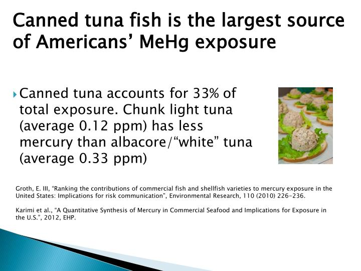"Canned tuna accounts for 33% of total exposure. Chunk light tuna (average 0.12 ppm) has less mercury than albacore/""white"" tuna (average"
