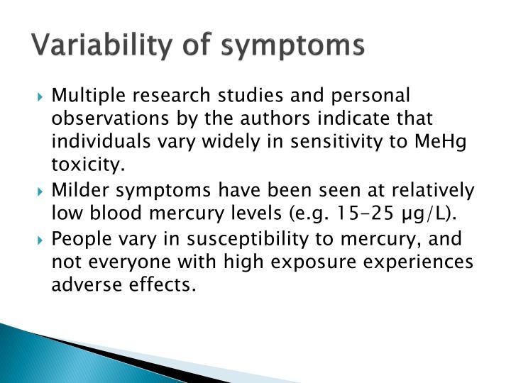 Variability of symptoms