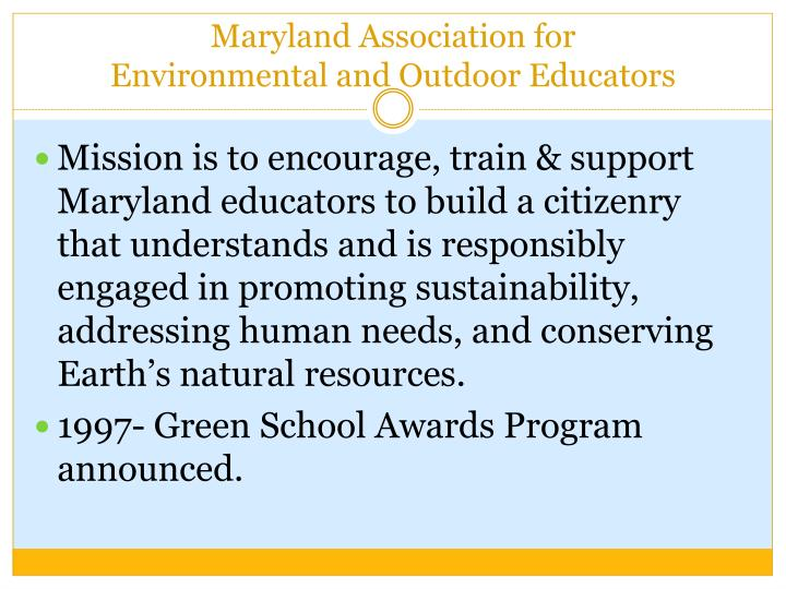 Maryland association for environmental and outdoor educators
