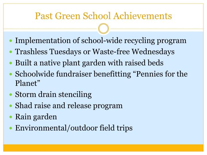 Past Green School Achievements