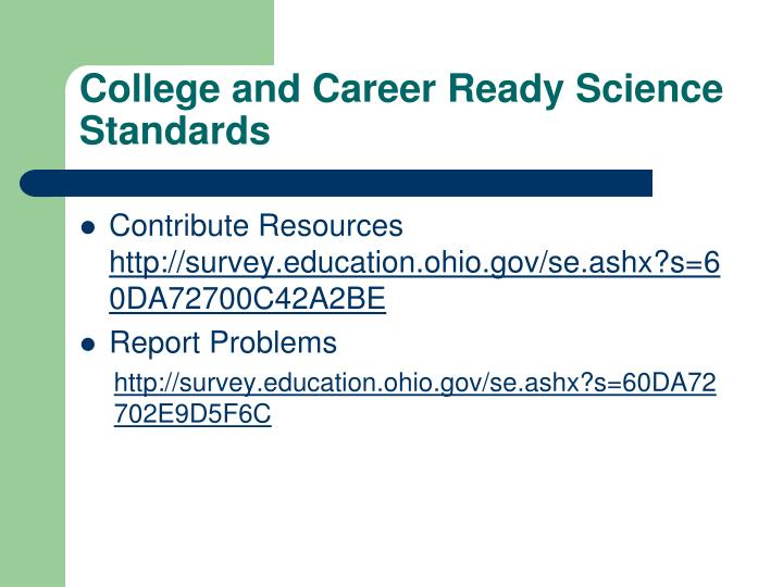College and Career Ready Science Standards
