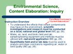 environmental science content elaboration inquiry