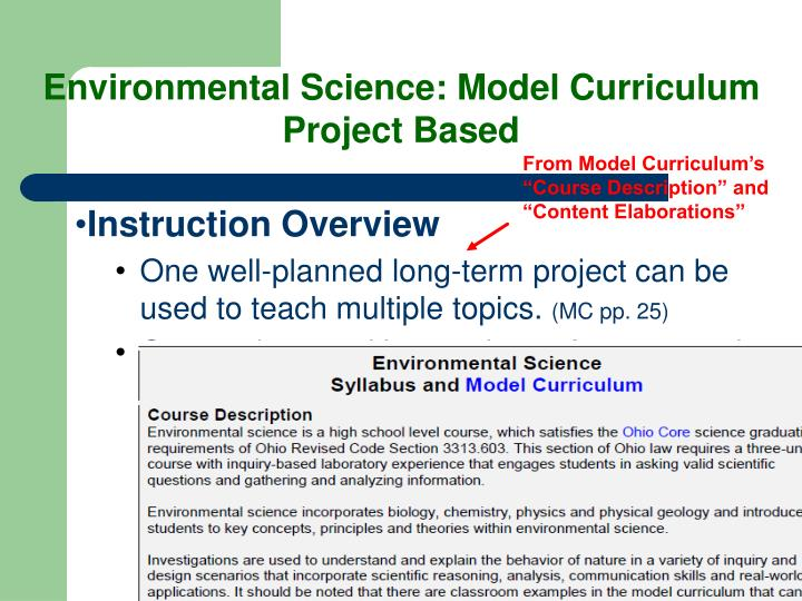 Environmental Science: Model Curriculum