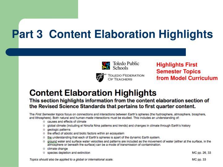 Part 3  Content Elaboration Highlights