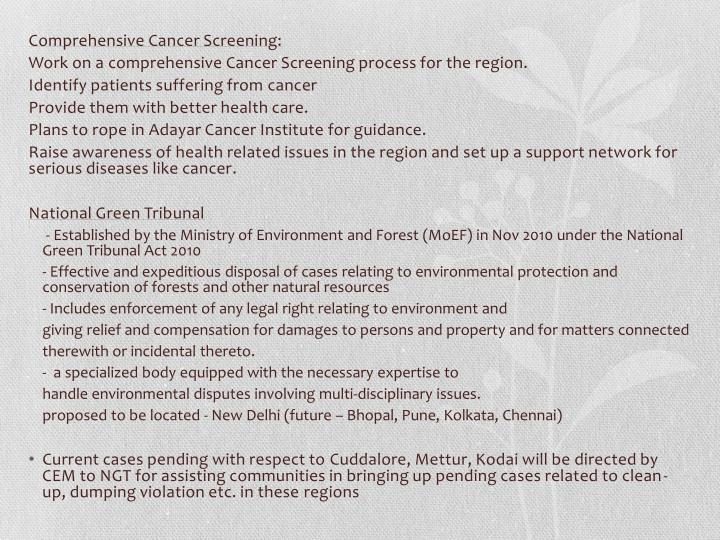 Comprehensive Cancer Screening: