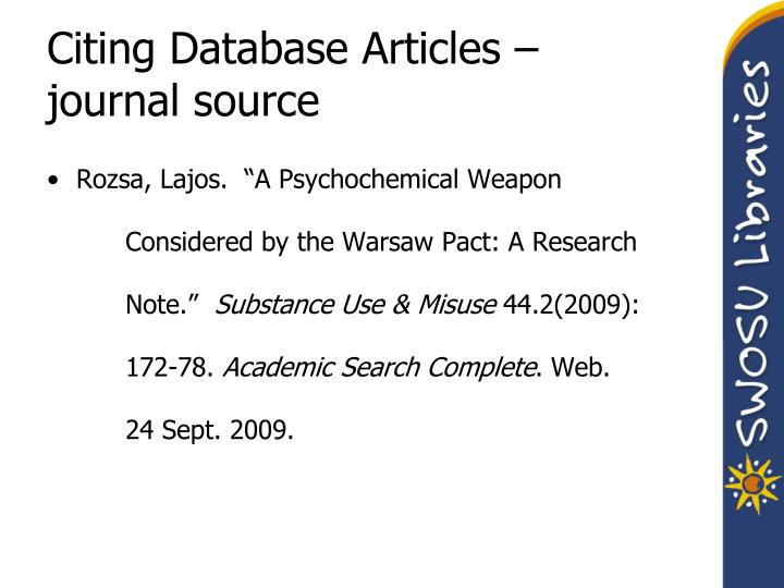 Citing Database Articles – journal source