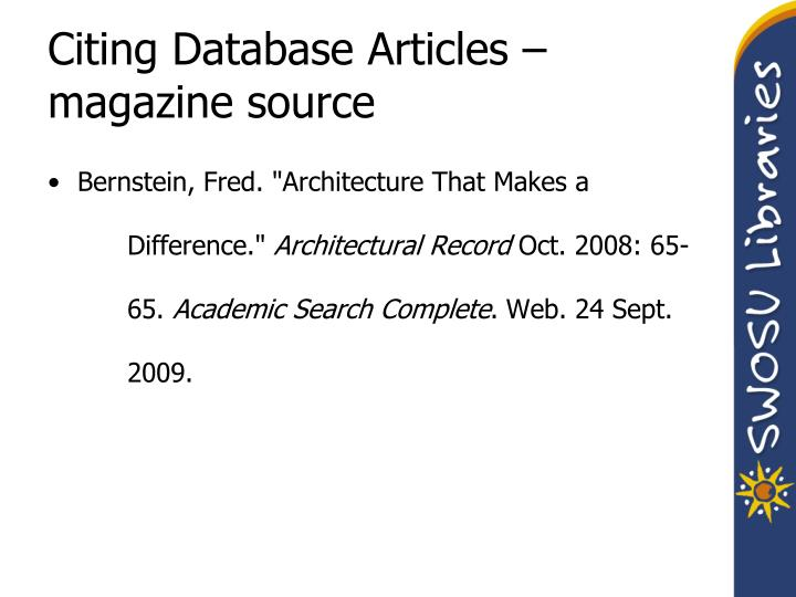 Citing Database Articles – magazine source