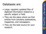 databases are