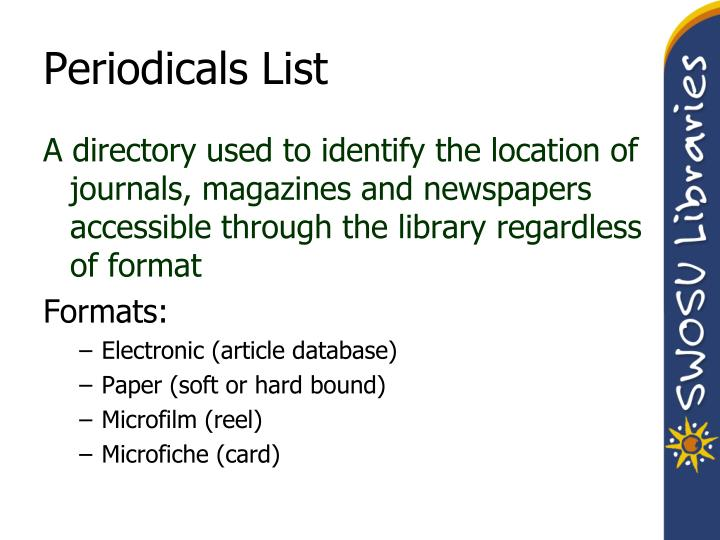 Periodicals List