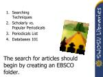 the search for articles should begin by creating an ebsco folder