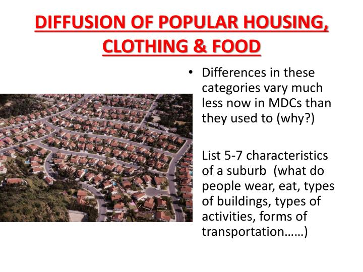 DIFFUSION OF POPULAR HOUSING, CLOTHING & FOOD