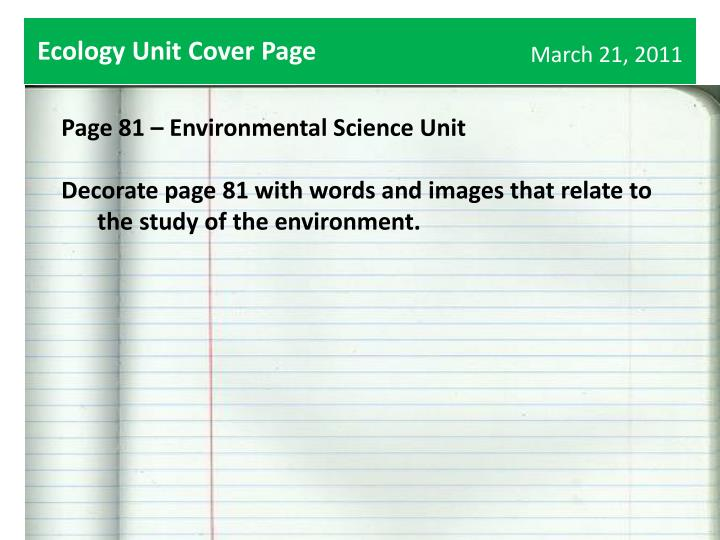 Ecology Unit Cover Page