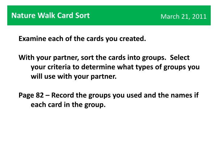 Nature Walk Card Sort