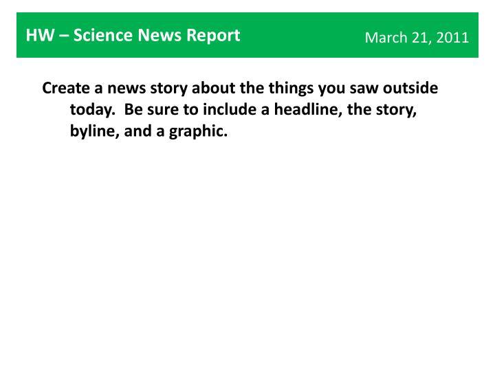HW – Science News Report