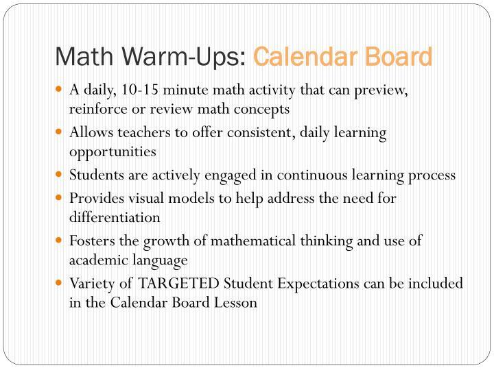 Math Warm-Ups: