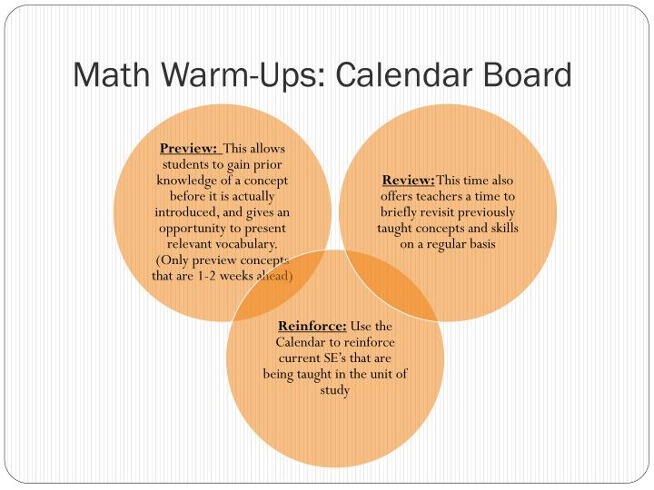 Math Warm-Ups: Calendar Board