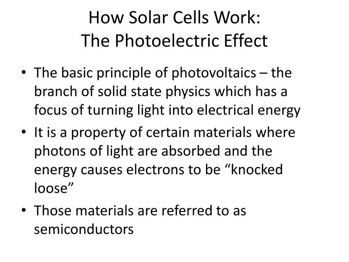 How Solar Cells Work: