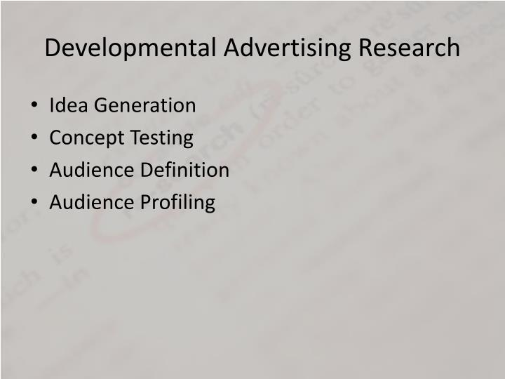 Developmental Advertising Research