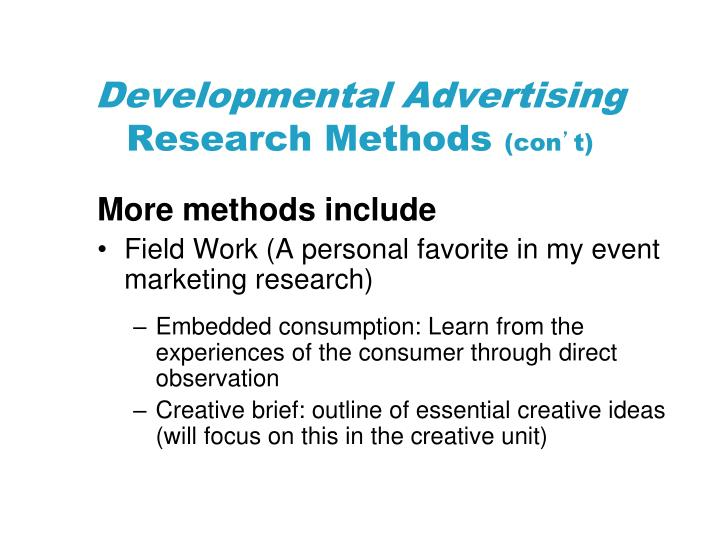 Developmental Advertising