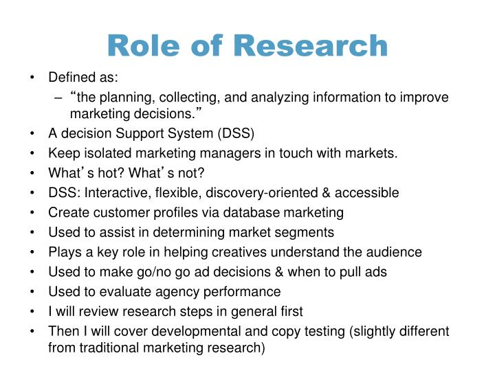 Role of research