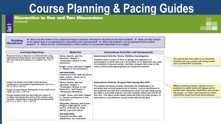 Course Planning & Pacing Guides