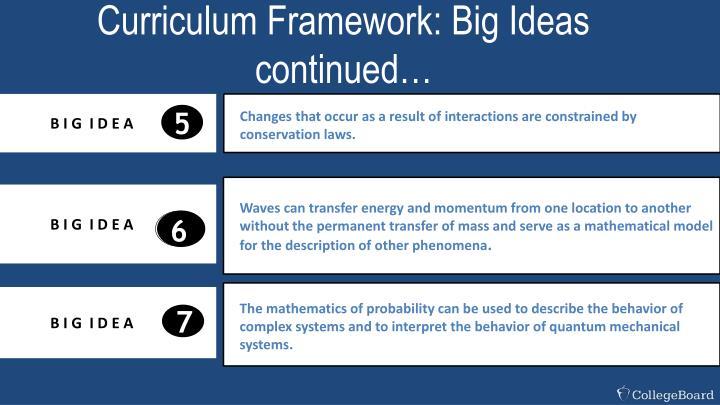 Curriculum Framework: Big Ideas continued…
