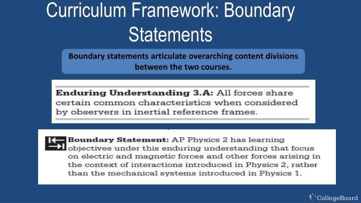Curriculum Framework: Boundary Statements