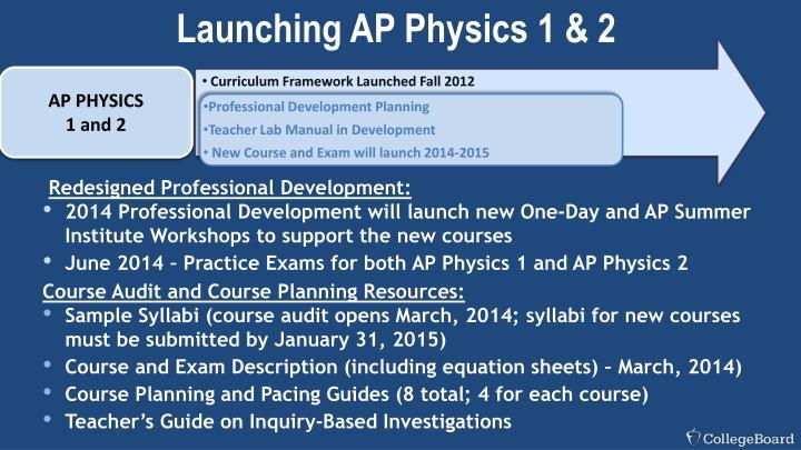 Launching AP Physics 1 & 2