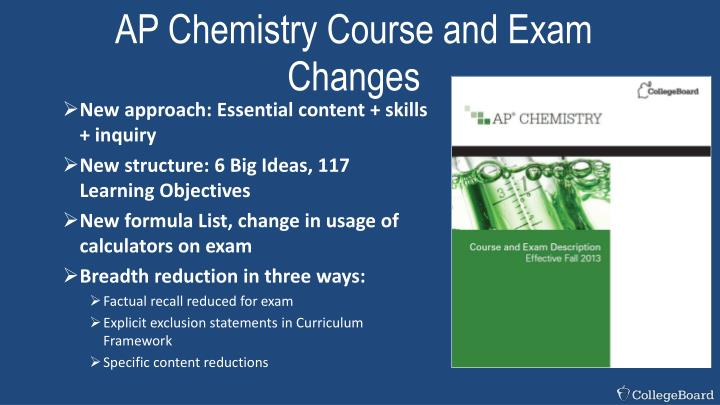 AP Chemistry Course and Exam Changes