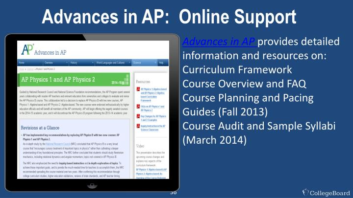 Advances in AP:  Online Support