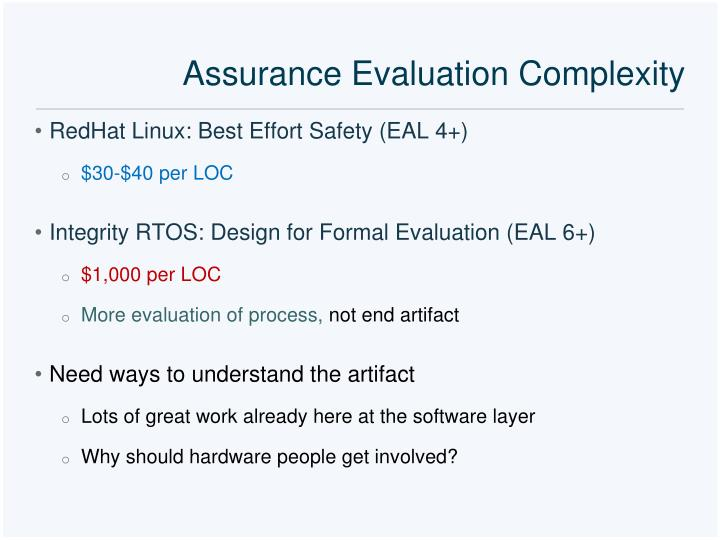 Assurance Evaluation Complexity