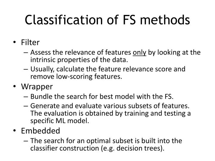 Classification of FS methods