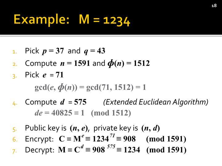 Example:   M = 1234
