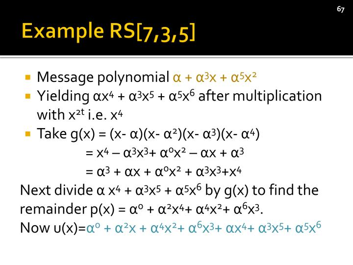 Example RS[7,3,5]