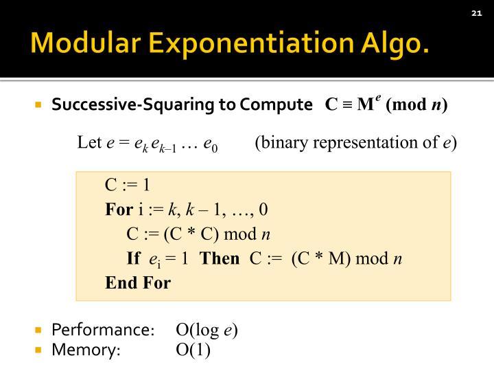 Modular Exponentiation