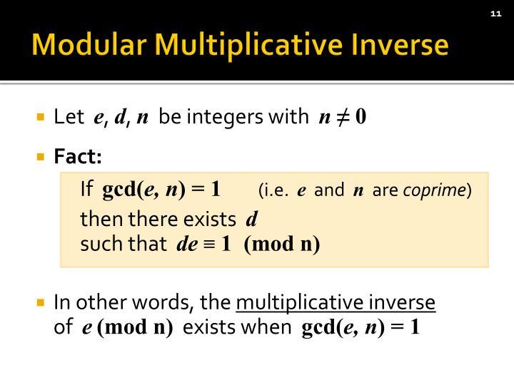 Modular Multiplicative Inverse