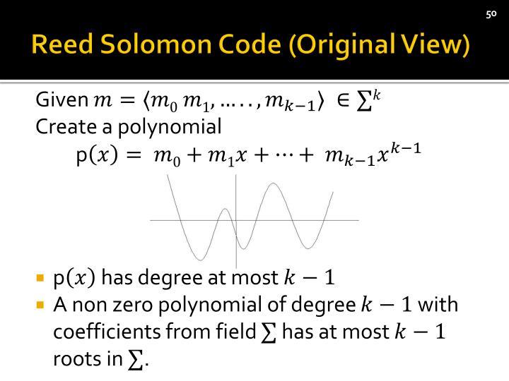 Reed Solomon Code (Original View)