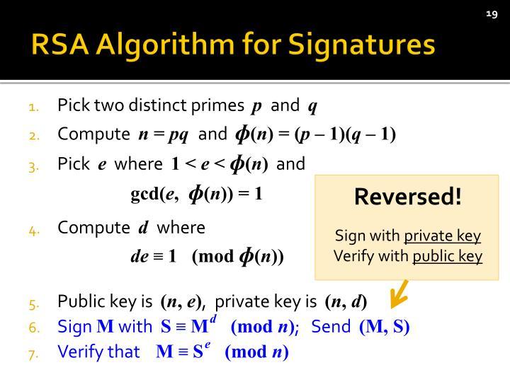 RSA Algorithm for Signatures